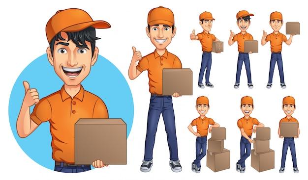 Mascota de hombre joven mensajero de dibujos animados