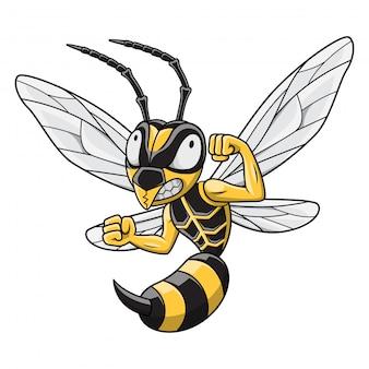 Mascota de hornet de dibujos animados