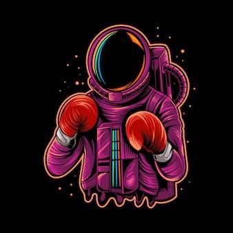 Mascota de ilustración de boxeo de astronauta