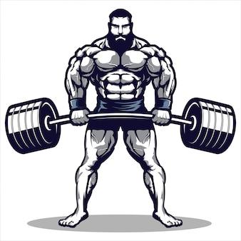 Mascota de una ilustración de hombre de gimnasio