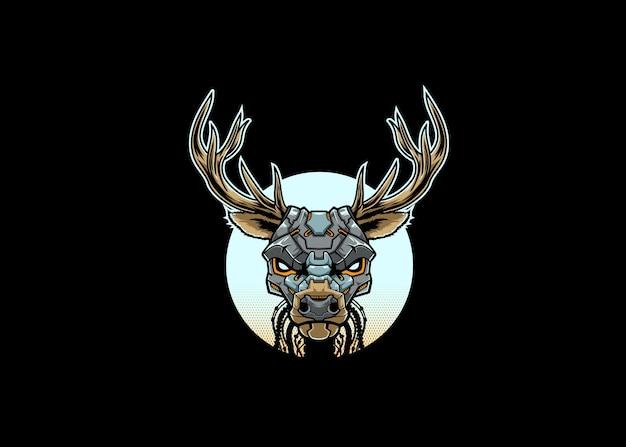 Mascota de ilustración de robot de cabeza de ciervo