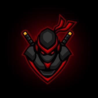 Mascota de juego con logo de ninja e sports