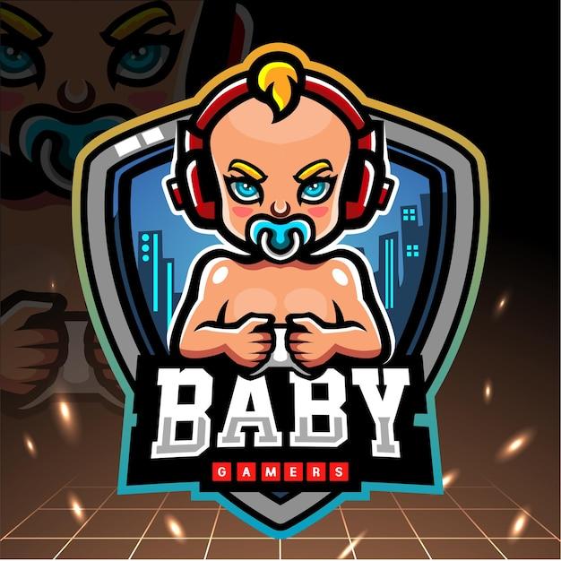 Mascota de los jugadores de bebé. logotipo de esport