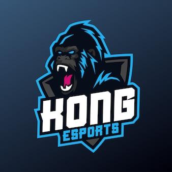 Mascota kong para el deporte y el logotipo del deporte