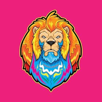 Mascota de león en colores