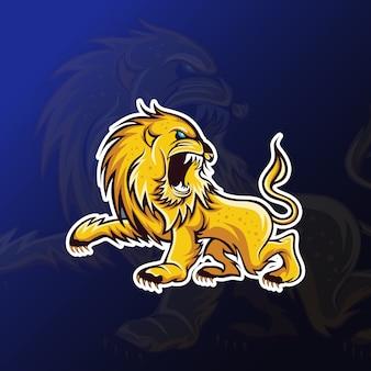 Mascota del león enojado para juegos de deportes