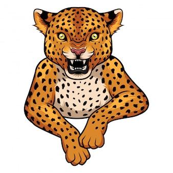 Mascota del leopardo de dibujos animados