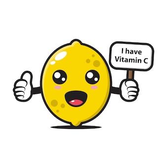 Mascota de limón sosteniendo una tabla que dice que tengo vitamina c