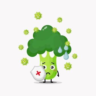 Mascota linda del brócoli contra el coronavirus