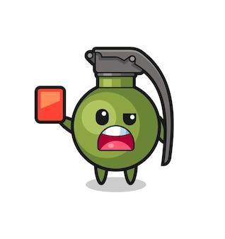 Mascota linda granada como árbitro dando una tarjeta roja, diseño de estilo lindo para camiseta, pegatina, elemento de logotipo