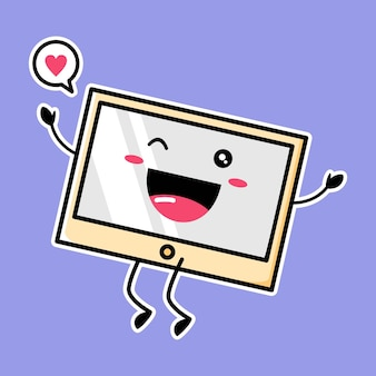 Mascota linda del monitor aislada en púrpura