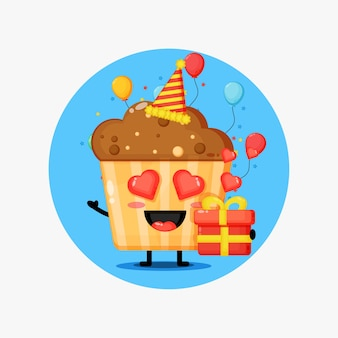 Mascota linda muffins en cumpleaños
