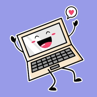 Mascota linda del ordenador portátil aislada en púrpura