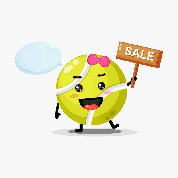 Mascota linda pelota de tenis con el cartel de ventas