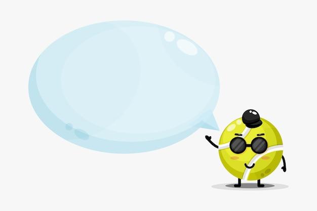 Mascota linda pelota de tenis con discurso de burbuja