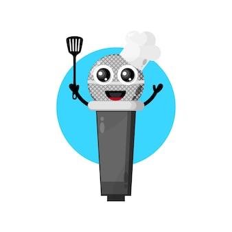Mascota linda del personaje del cocinero del micrófono