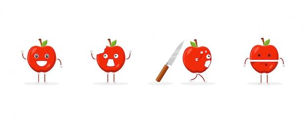 Mascota linda del personaje de dibujos animados de la fruta de la manzana