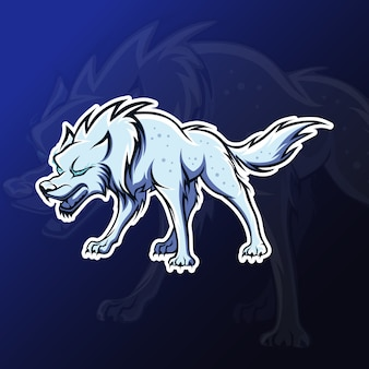 Mascota lobo enojado para juegos de deportes