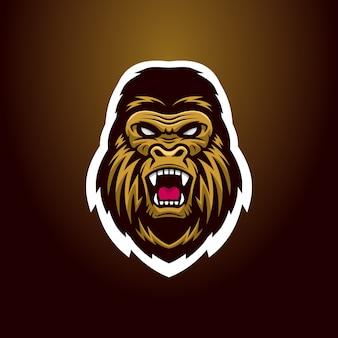 Mascota de logo de cabeza de gorila enojado