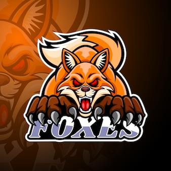 Mascota del logo de foxes esport