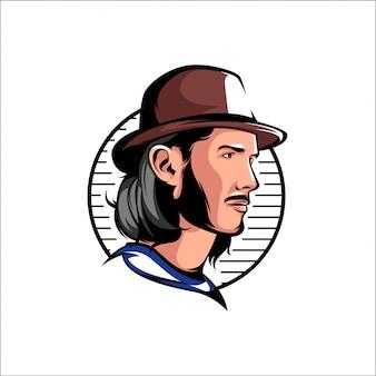 Mascota del logo de hombres en la cabeza
