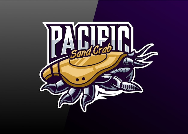 Mascota de logo de robot de cangrejo de arena del pacífico
