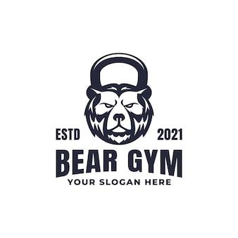 Mascota del logotipo de la aptitud del gimnasio del oso de kettlebell