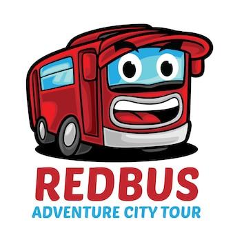 Mascota del logotipo del autobús rojo aislado en blanco