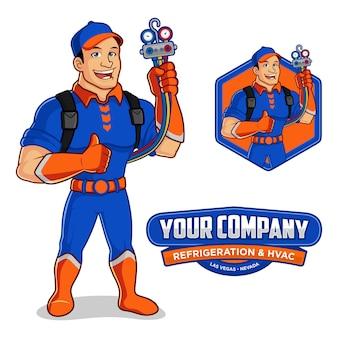 Mascota de logotipo para empresa de refrigeración y climatización