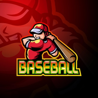 Mascota del logotipo de esport del jugador de béisbol