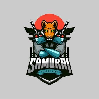 Mascota del logotipo de fox samurai