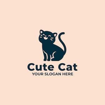 Mascota del logotipo del gato lindo