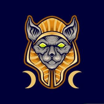 Mascota del logotipo del gato spinx egipcio
