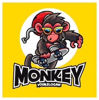 Mascota del logotipo del mono del patín