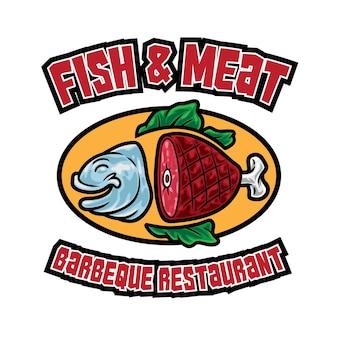 Mascota del logotipo del restaurante de carne de pescado