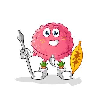 Mascota del luchador tribal africano del cerebro. dibujos animados