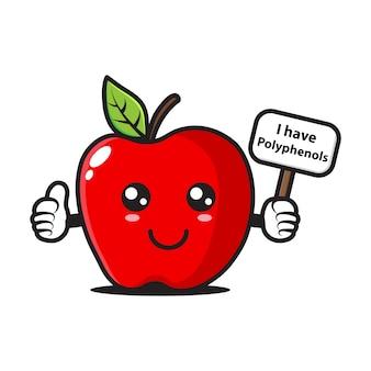 La mascota de la manzana tiene un cartel que dice que tengo polifenoles.
