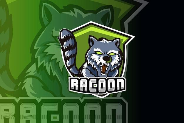 Mascota de mapache para deportes y logotipo de deportes electrónicos aislado sobre fondo oscuro