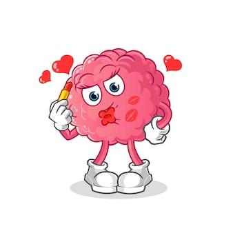 Mascota de maquillaje de cerebro. dibujos animados