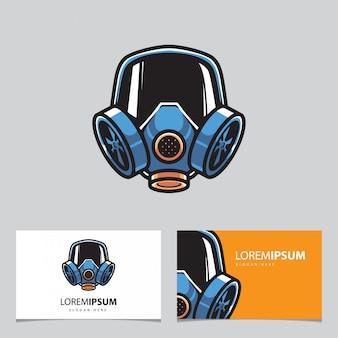 Mascota de máscara de gas y tarjetas de visita