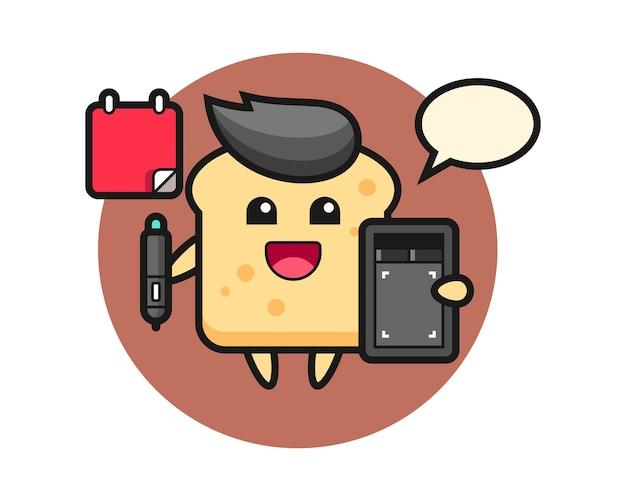 Mascota de la mascota del pan como diseñador gráfico.