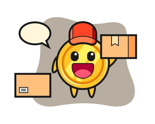 Mascota de medalla como mensajero
