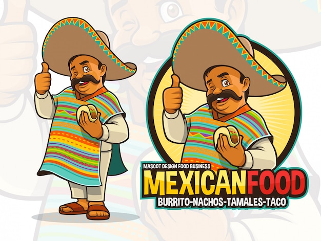 Mascota mexicana para restaurante taco