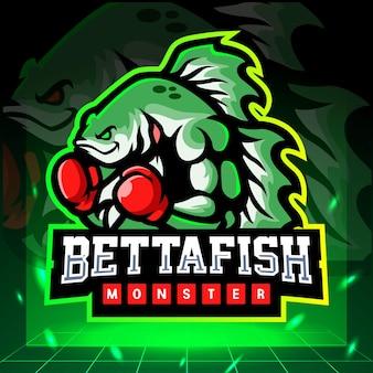 Mascota monstruo pez betta. diseño de logo de esport