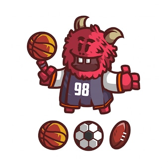 Mascota monstruo rojo para equipo deportivo