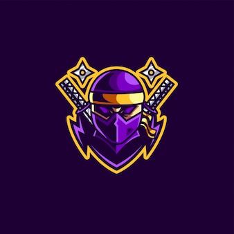 Mascota ninja y logo de juegos esport.