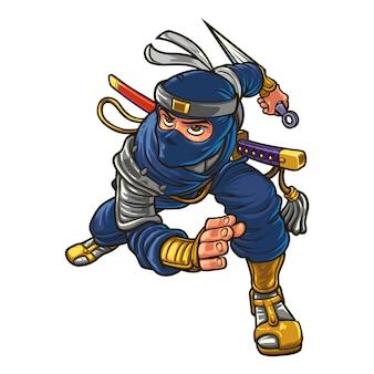 Mascota de ninja silencioso de dibujos animados