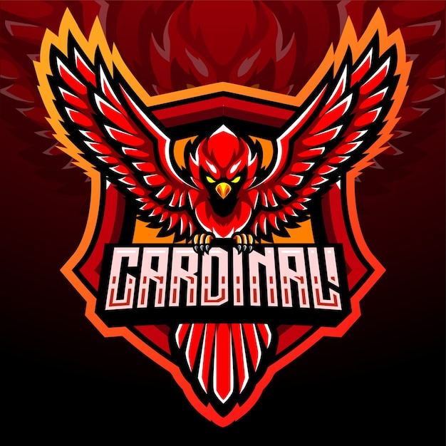 Mascota del pájaro cardenal. diseño de logo de esport