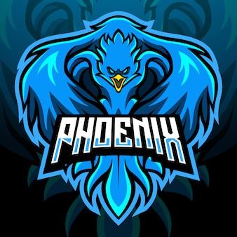 Mascota del pájaro fénix. logotipo de esport