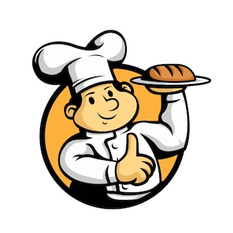 Mascota de pan de chef de dibujos animados hacer pulgar hacia arriba.